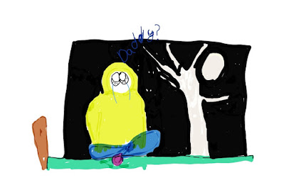 Illustration showing a bright white moon through bare white winter trees A person wearing a yellow hoodie with the hood up is sitting on a bed, crying.